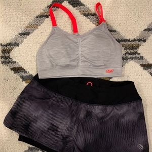 Running workout set sports bra and shorts EUC